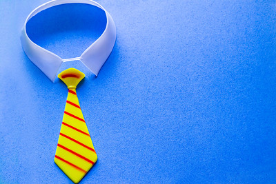Overhead Tie on a Blue Background