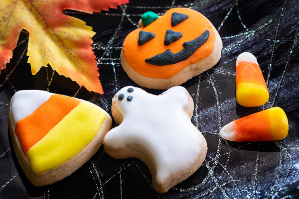 Delicious Halloween Shortbread Cookies on a Black Plate