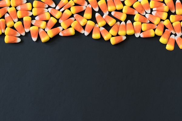 Candy Corn Border on a Black Background