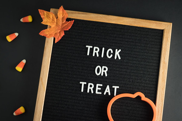 Trick Or Treat Text on a Letterboard