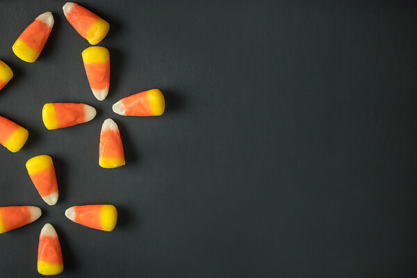 Candy Corn on a Black Background