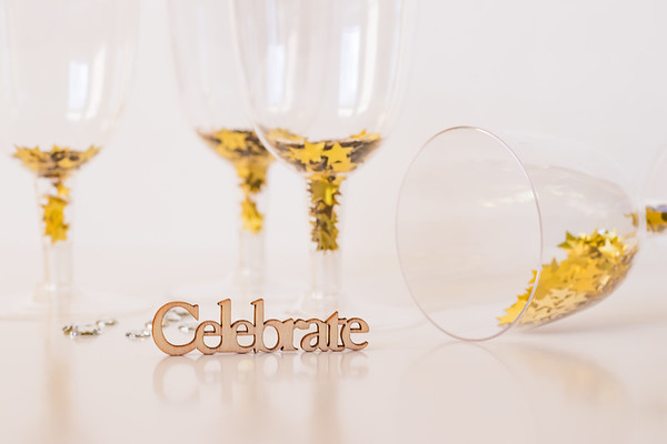 Celebrate Text with Champagne Glasses