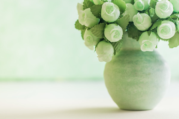 Green Fake Flowers Against a Minimal Background