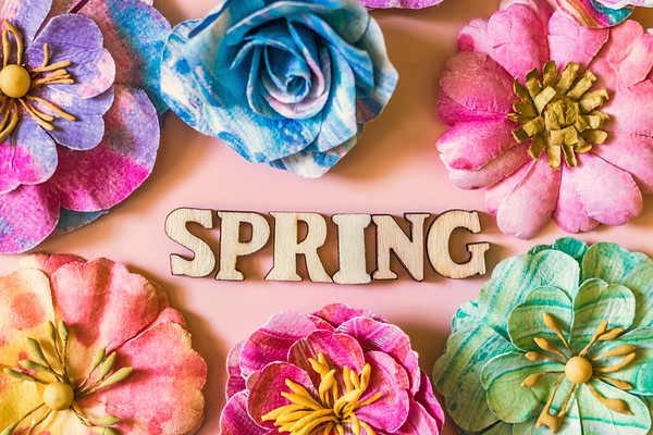 Spring Text on Pink Background surrounded by Colorful Vibrant Flowers