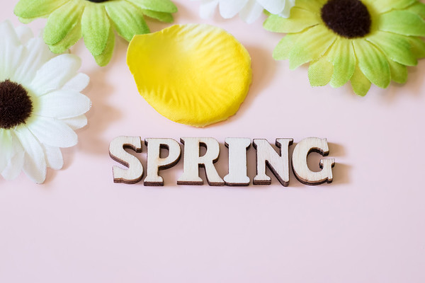 Spring Text on a Light Pink Background