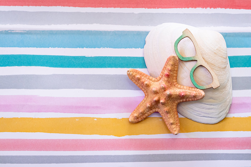 Starfish and Seashells on a Colorful Pastel Background