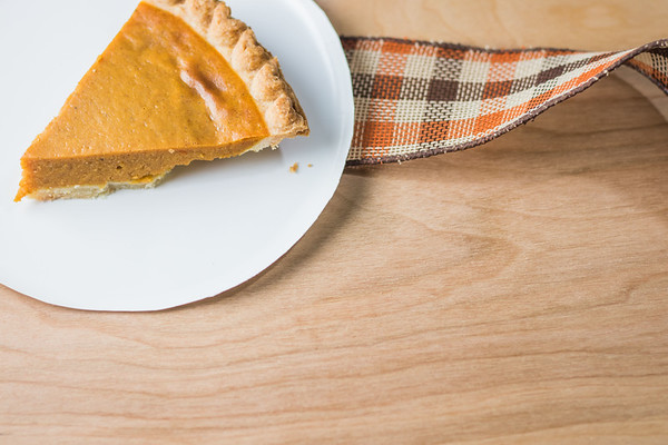 Pumpkin Pie on a Thanksgiving Table