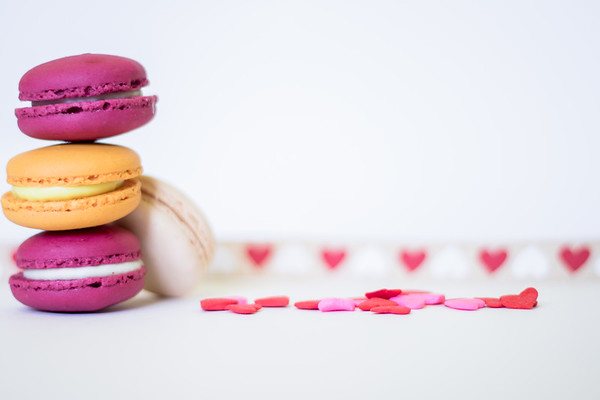 Colorful macaroons on a white background
