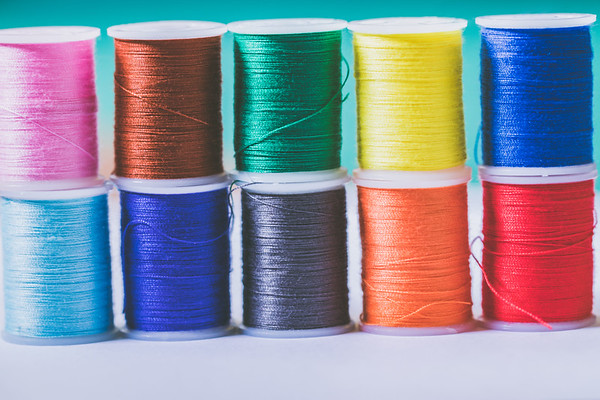 Assortment of Coloful Spools of Thread