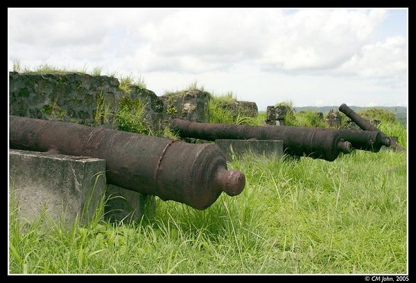 <H2><b>Canons</b></H2> <P ALIGN=LEFT>These rusted canon once protected the spanish fort of San Lorenzo  from any invasion from land or sea. They are now a reminder of a Panama that no longer exist, the Panama of the Spaniards and of the greater Columbia.</P>