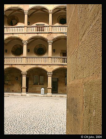 <br> <H2><b>Interior court of the old Castle</b></H2> <P ALIGN=LEFT>The interior court of the old castle, with its paved floor and series of arches.<P> <H5>(Click on picture to enlarge)</H5>