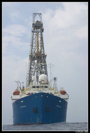 <h2><b>The <i>JOIDES Resolution</i></b></h2> <P ALIGN=LEFT>The <i>JOIDES Resolution</i> is a drilling vessel operated by the Integrated Ocean Drilling Program. It's mission is to study Earth's history and the structure or our planet. This shot shows the JR drilling in the Gulf of Mexico during Expedition 308, and it was shot from a rubber boat.</P>