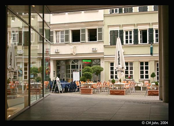 <br> <H2><b>Calwer Strasse</b></H2> <P ALIGN=LEFT>Your typical restaurant venue, in a nice southern German style.<P> <H5>(Click on picture to enlarge)</H5>