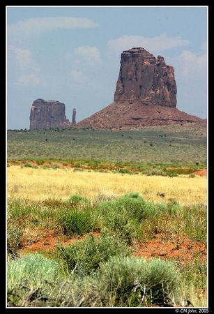 <H2><b>Rock Pillars</b></H2> <P ALIGN=LEFT>The rock pillars of Monument Valley in the distance contrast with the greens of the vegetation in the foreground.</P> <H5>(Click on picture to enlarge)</H5>