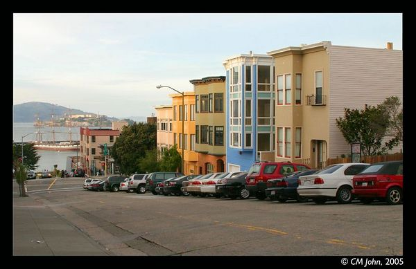 <br> <H2><b>Hyde Street</b></H2> <P ALIGN=LEFT>View from Hyde Street, the Pier is visible in the back of the picture, as well as Alcatraz in the far back.<P> <H5>(Click on picture to enlarge)</H5>
