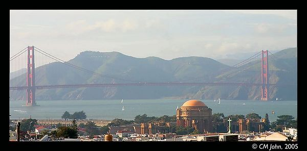 <br> <H2><b>Golden Gate Bridge</b></H2> <P ALIGN=LEFT>The Golden Gate is the name given during the gold rush to the entrance of the San Francisco Bay. In the early 20th century, the Golden Gate bridge was built to link both parts of the Bay. View from Fillmore Street.<P> <H5>(Click on picture to enlarge)</H5>