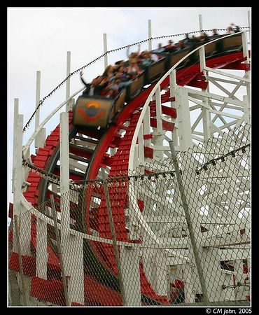 <br> <H2><b>Rollercoster</b></H2> <P ALIGN=LEFT>The Santa Cruz boardwalk is an amusement park lining the city beach. Many people come in the summer to enjoy the ride, such as did these falks on the rollercoster.<P> <H5>(Click on picture to enlarge)</H5>