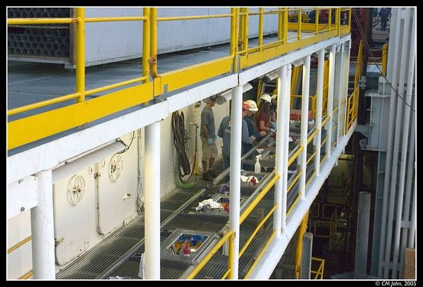 <H2><b>Catwalk</b></H2> <P ALIGN=LEFT>The part of the vessel shown here is called the catwalk. This is where cores are being cut and later on brought to the labs for analysis.</P>