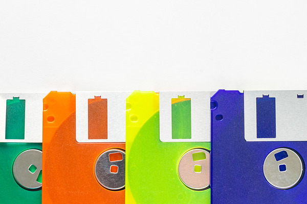 Colorful Floppy Disks on a White Background
