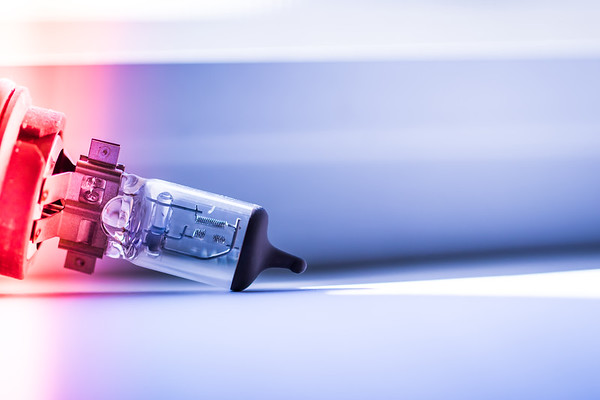 Closeup of a Car Headlight Bulb