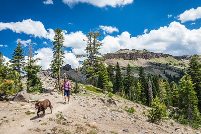 Castle Peak Hiker with Dog, Truckee