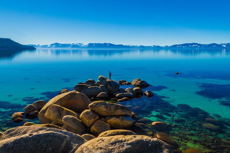 Man waving Lake Tahoe