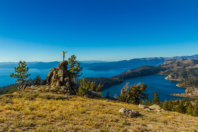 Joyful man above Lake Tahoe and Marlette Lake