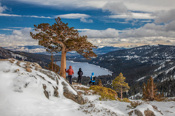Hiking Snowshoers on Donner Summit - Donner Lake
