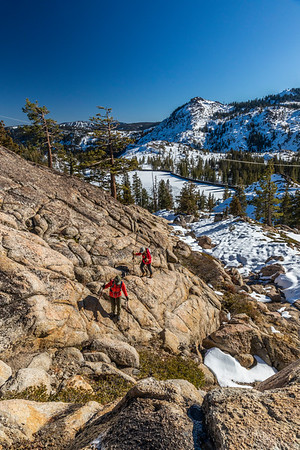 Hiking Donner Summit above Lake Angela