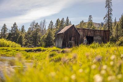 Hiker at old Barn