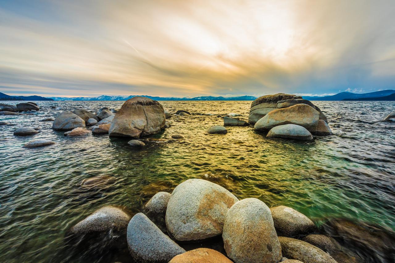 Storm approaching Hidden Beach Lake Tahoe