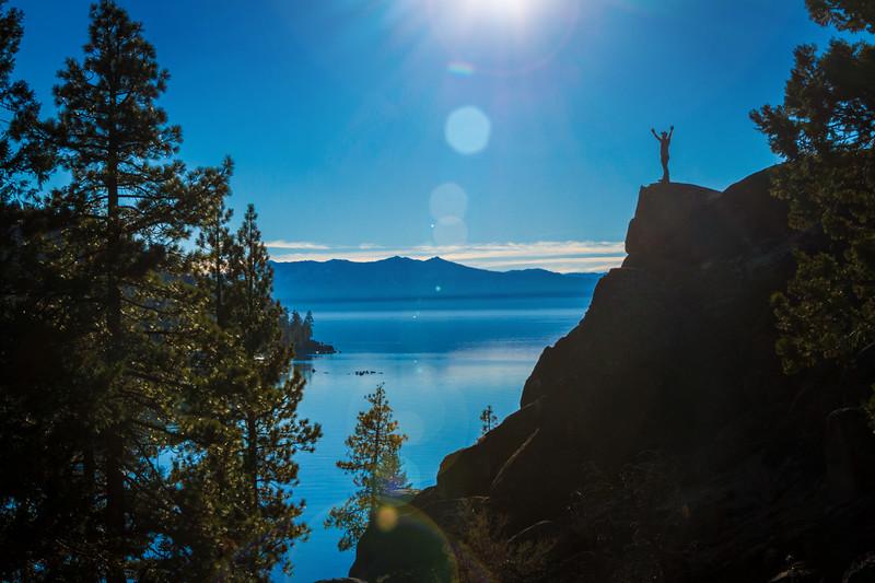 Joyful Man overlooking Lake Tahoe