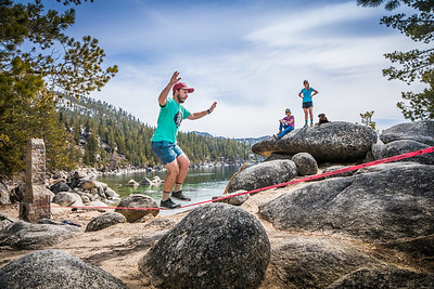 Lake Tahoe Chimney Beach Slackline