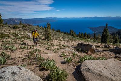 Man hiker on Tahoe Rim Trail