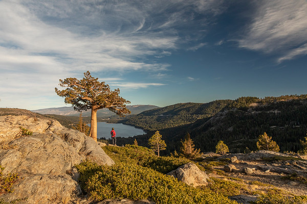Hiker on Donner Summit looking over Donner Lake