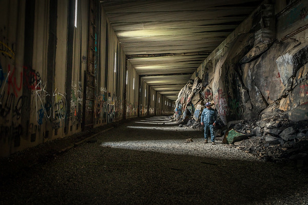 Hiker in Train Tunnels