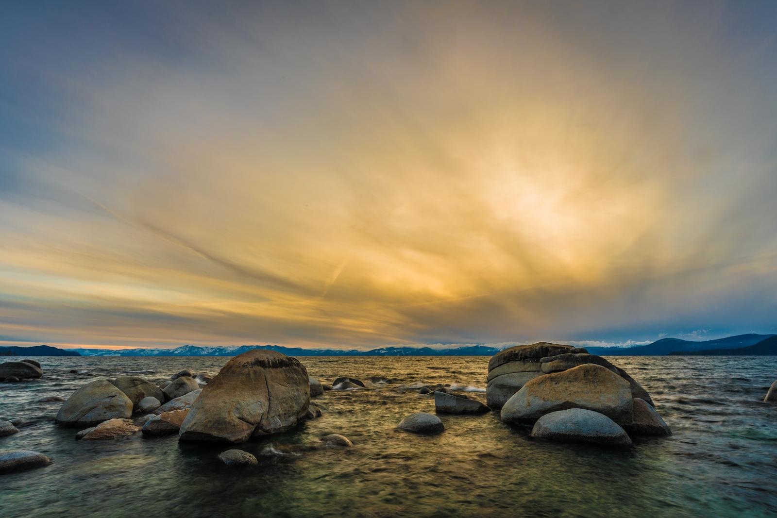 Hidden Beach sunset storm Lake Tahoe