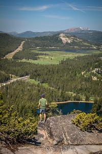 Hiker Donner Peak looking over Van Norden