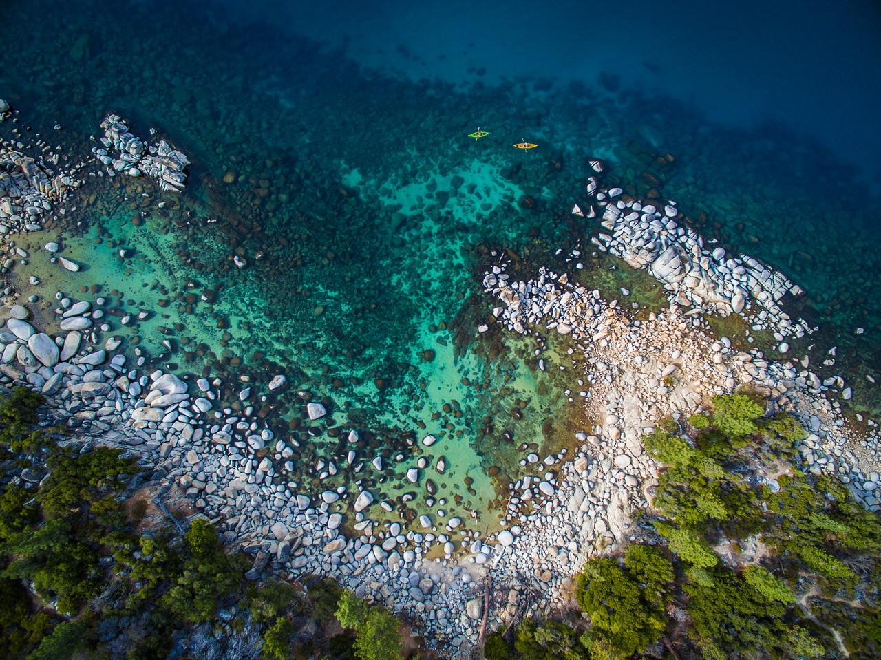 Kayaking Hidden Beach Lake Tahoe from Drone