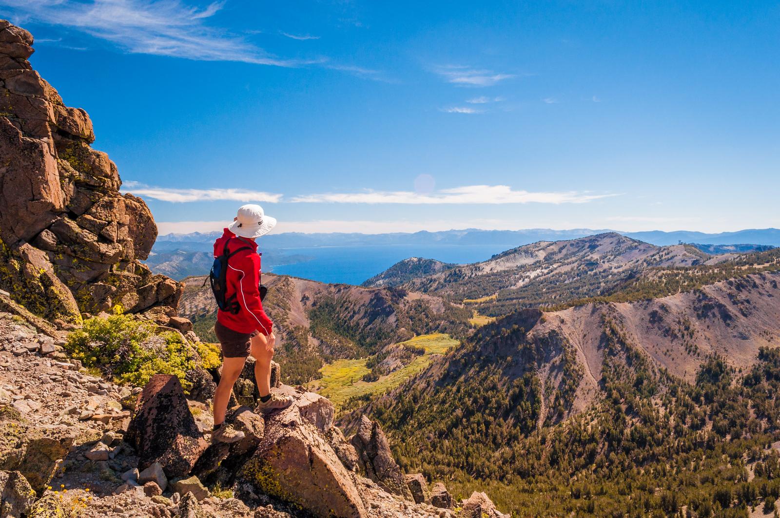 Mt Rose hiker above Lake Tahoe
