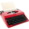 Red typewriter with blank paper