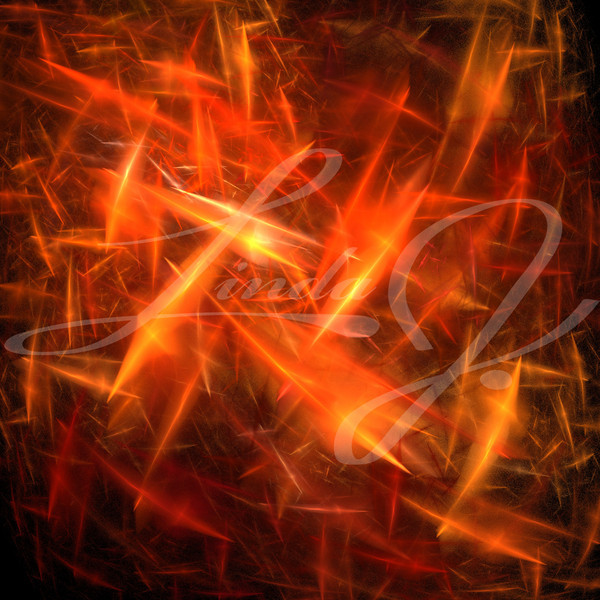 Orange and red static, lightening or electric charged explosion fractal.