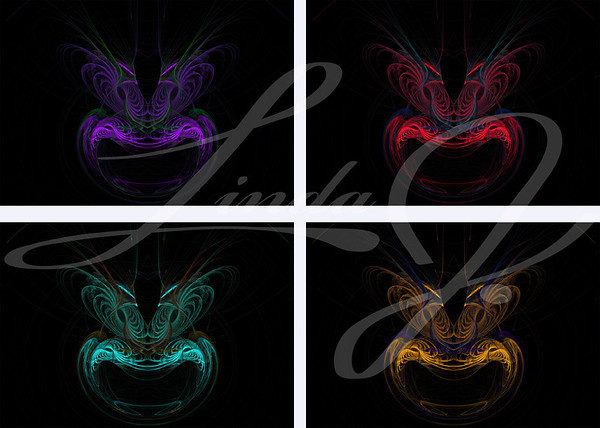 Four mask or face shaped fractals in purple, red, teal or green and gold or orange on a black background with feathered eyebrows.