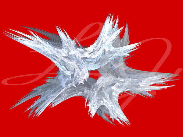 Patriotic swirling white fractal star on a red background.