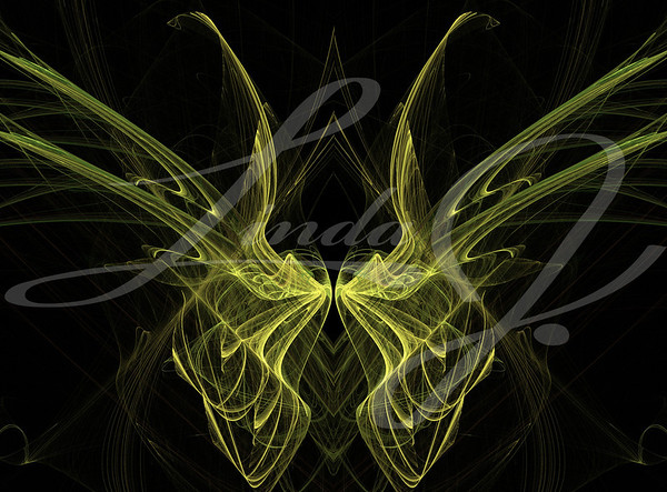 Abstract fractal illusion of yellow butterfly wings on a black background.