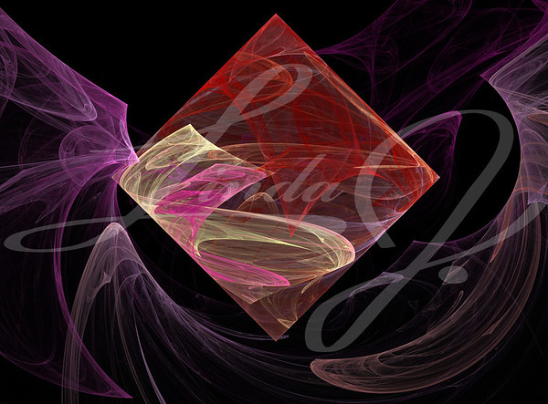 Pink, red, and beige fractal square or diamond floating in smoky waves of lavender on a black background.