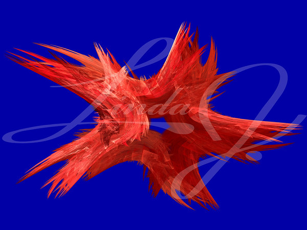 Patriotic swirling red fractal star on a blue background.