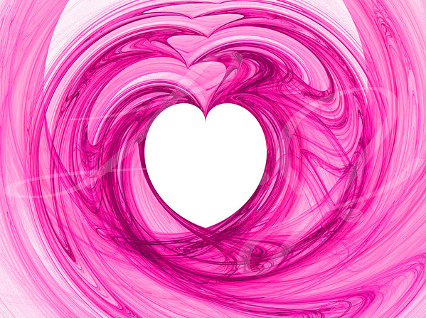 A white heart surrounded by swirls of pinks.
