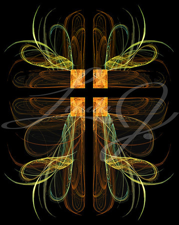 Fractal crucifix with hearts in green, gold and orange on a black background.