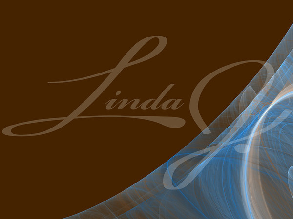 Brown background copy space with a blue and white corner design of transparent rolling layers.